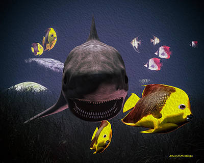 Shark And Fishes Print by Ramon Martinez