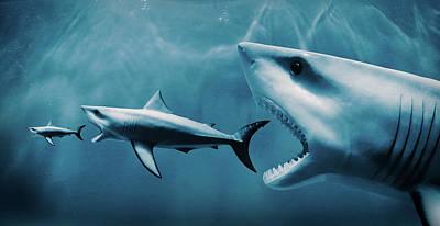 Shark Eats Shark Eats Shark Print by PM Images
