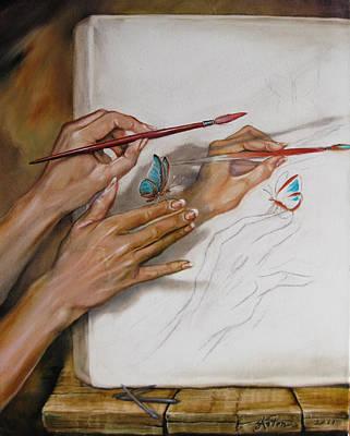 She Paints Print by Martin Katon