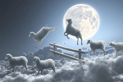 Cloudscape Digital Art - Sheep Jumping Over Fence In A Cloudy Moon Scene by Dieter Spannknebel
