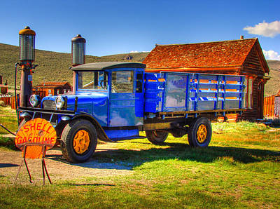 Shell Gas Station And Blue Truck In Bodie Ghost Town Print by Scott McGuire