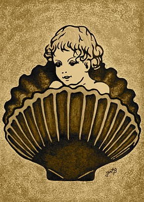 Shell With Child 3 Print by Georgeta  Blanaru