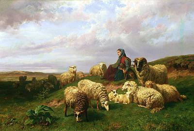 Shepherdess Resting With Her Flock Print by Edmond Jean-Baptiste Tschaggeny