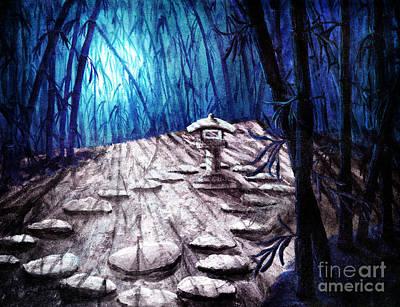 Bamboo Digital Art - Shinto Lantern In Stark Moonlight by Laura Iverson