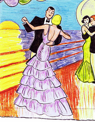 Lavender Drawing - Shipboard Dancers by Mel Thompson