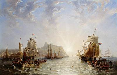 Sun Rays Painting - Shipping Off Scarborough by John Wilson Carmichael