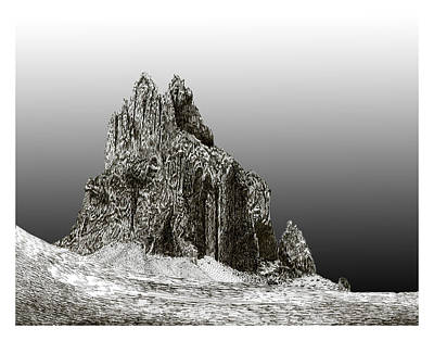 Ink Drawing Digital Art - Shiprock Mountain Four Corners by Jack Pumphrey