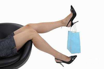 Shopping Bag Hanging On Woman's High Heels Print by Sami Sarkis