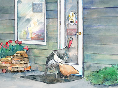 Chicken Mixed Media - Shopping Buddies by Arline Wagner