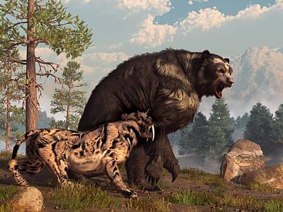 Ice Age Digital Art - Short-faced Bear And Saber-toothed Cat by Daniel Eskridge