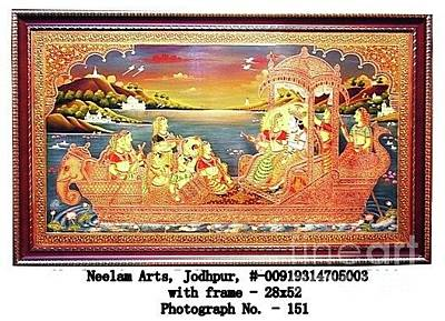 Shri Krishna Painting - Shri Radha Krishna Nauka Vihar by Prakash Kumar