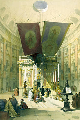 Christianity Drawing - Shrine Of The Holy Sepulchre April 10th 1839 by Munir Alawi