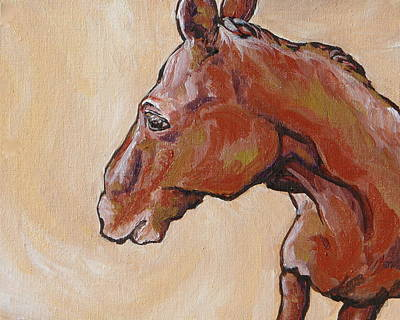 Horse Painting - Shy Away by Sandy Tracey
