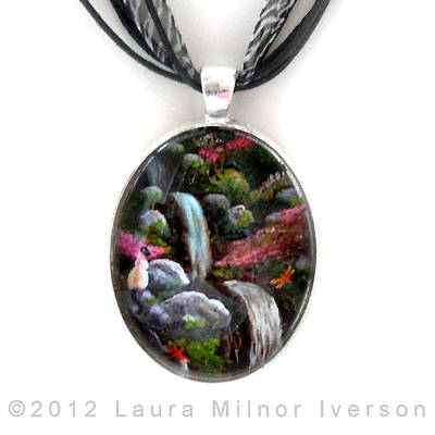 Siamese Cat And Dragonflies Pendant Original by Laura Iverson