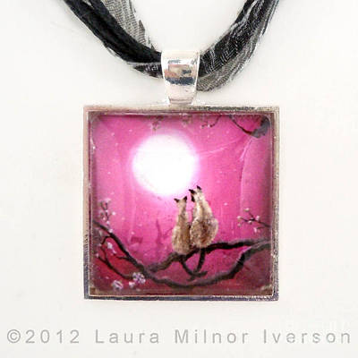Siamese Cats In Spring Blossoms Pendant Original by Laura Iverson