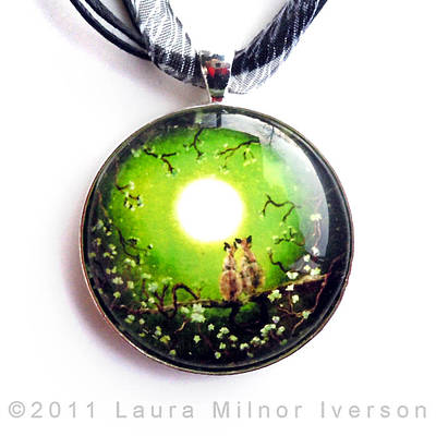 Siamese Cats In Spring Moonlight Pendant Original by Laura Iverson