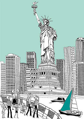 Building Exterior Digital Art - Side View Of Tourists Photographing Statue Of Liberty by Eastnine Inc.