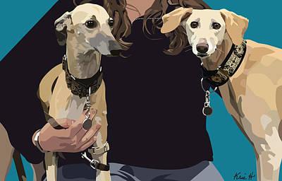 Pet Portraits Digital Art - Sighthounds by Kris Hackleman