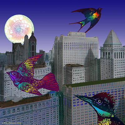 Montage Digital Art - Silent City Of Night by Eric Edelman