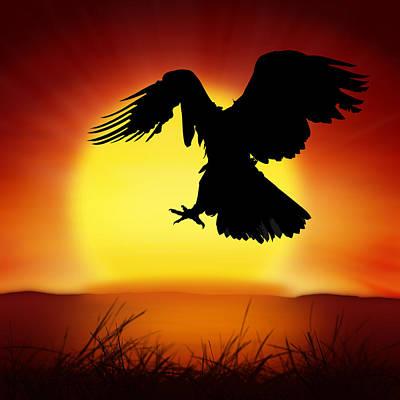 Twilight Views Photograph - Silhouette Of Eagle by Setsiri Silapasuwanchai
