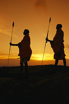 Silhouetted Laikipia Masai Guides Print by Richard Nowitz