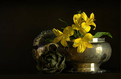 Silver And Golden Print by Cindy Rubin