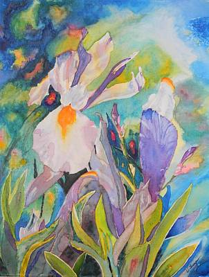 Silver Background Painting - Silver Beauty Iris  by Warren Thompson
