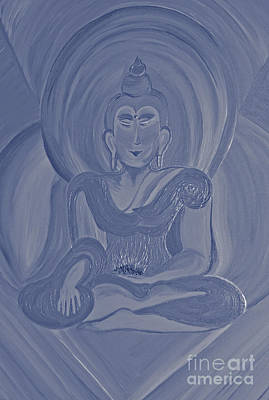 Monotone Painting - Silver Buddha by First Star Art