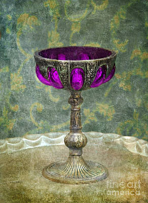 Silver Chalice With Jewels Print by Jill Battaglia