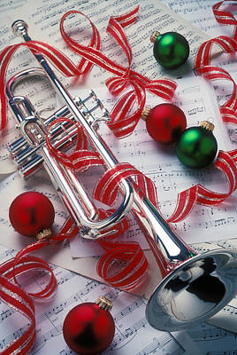 Sheet Music Photograph - Silver Trumper And Christmas Ornaments by Garry Gay
