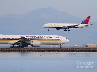 Singapore Airlines And Delta Airlines Jet Airplane At San Francisco International Airport Sfo Print by Wingsdomain Art and Photography