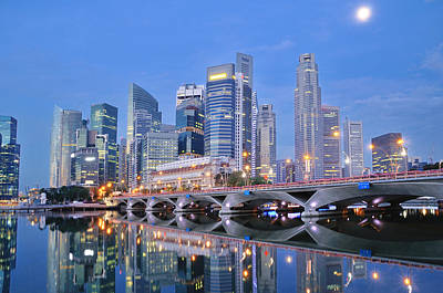 Singapore Central Business District Skyline Print by Photo by Salvador Manaois III
