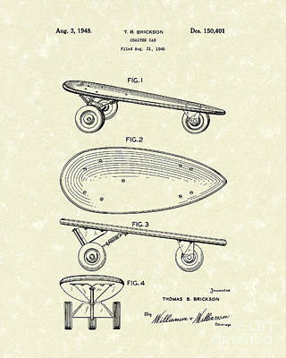 Skateboarding Drawing - Skateboard Coaster Car 1948 Patent Art  by Prior Art Design