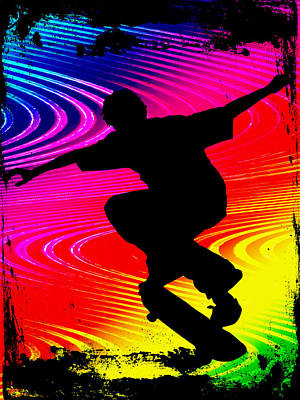 Skateboarding On Rainbow Grunge Background Print by Elaine Plesser