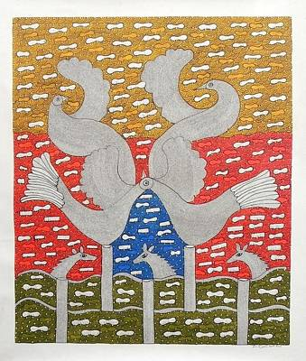 Gond Painting - Skd 310 Birds by Suresh Kumar Dhurve