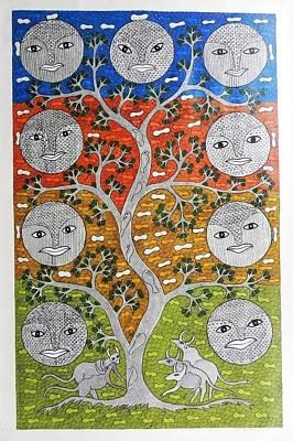 Gond Painting - Skd 312 Nav Graha  The Nine Planets by Suresh Kumar Dhurve