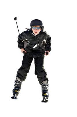 Skier Flying Print by Susan Leggett
