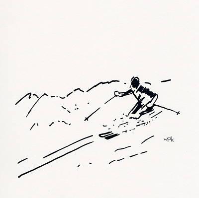 Maine Winter Drawing - Skier IIi by Winifred Kumpf