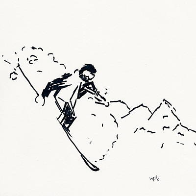Maine Winter Drawing - Skier V by Winifred Kumpf
