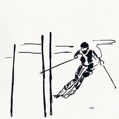 Maine Winter Drawing - Skier Vi by Winifred Kumpf