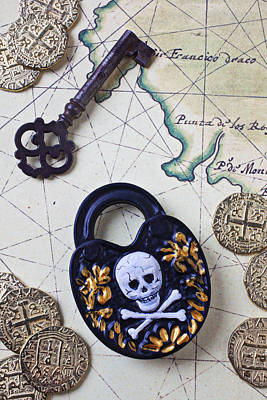Coins Photograph - Skull And Cross Bones Lock by Garry Gay