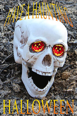 Haunted House Party Mixed Media - Skull Halloween Card by Debra     Vatalaro