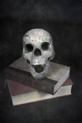 Skull On Books Print by Joana Kruse