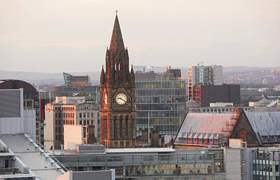 Y120817 Photograph - Skyline Of Deansgate At Dusk by Allan Baxter