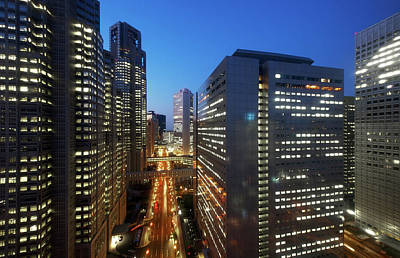 Skyscrapers In Commercial District Of Tokyo Print by Vladimir Zakharov