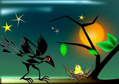 Magpies Digital Art - Sleep Tight by Ingrid Gertz