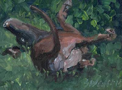 Chocolate Lab Puppy Painting - Sliding In by Sheila Wedegis