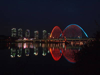 Symmetry Photograph - Smart City-apartments-reflection-expo Bridge-daeje by Copyright Michael Mellinger