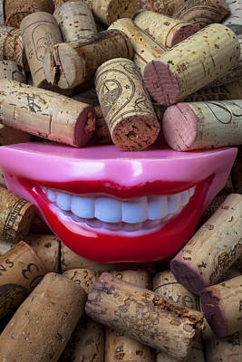 Smile Among Wine Corks Print by Garry Gay