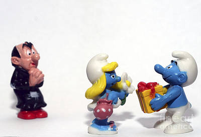 Toy Shop Photograph - Smurf Figurines by Amir Paz